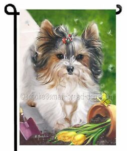 BIEWER-Terrier-Puppy-parti-YORKIE-painting-SPRING-GARDEN-FLAG-Dog-butterfly-art