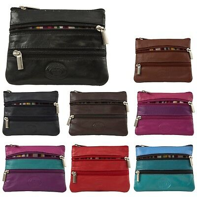 Unisex Super Soft Premium Real Leather Small Zipped Coin Pouch Purse Wallet