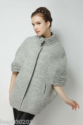 Ladies Grey Coat Poncho Wool Women's Winter Parka Trench Outwear Jacket