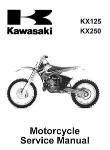 new kawasaki kx 125 kx 250 1999 2000 2001 2002 service manual rh ebay com 1984 Kawasaki KX 250 2001 Kawasaki Mojave 250