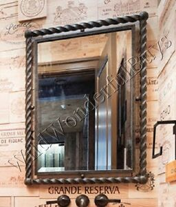 Twisted Metal Wall Mirror Antique Bronze 35h Foyer Large