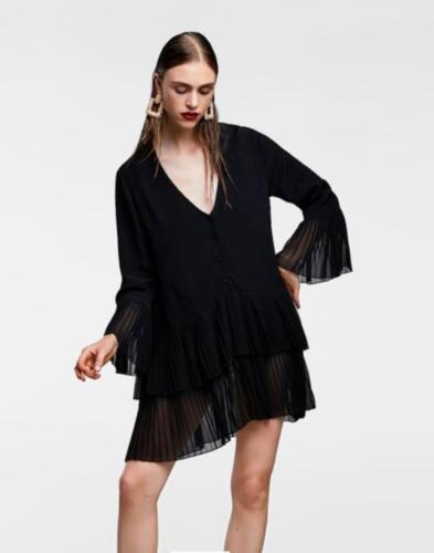 Womens Ladies Plunge Bell Sleeve Frill Hem Shift Skater Shirt Dress Party Top