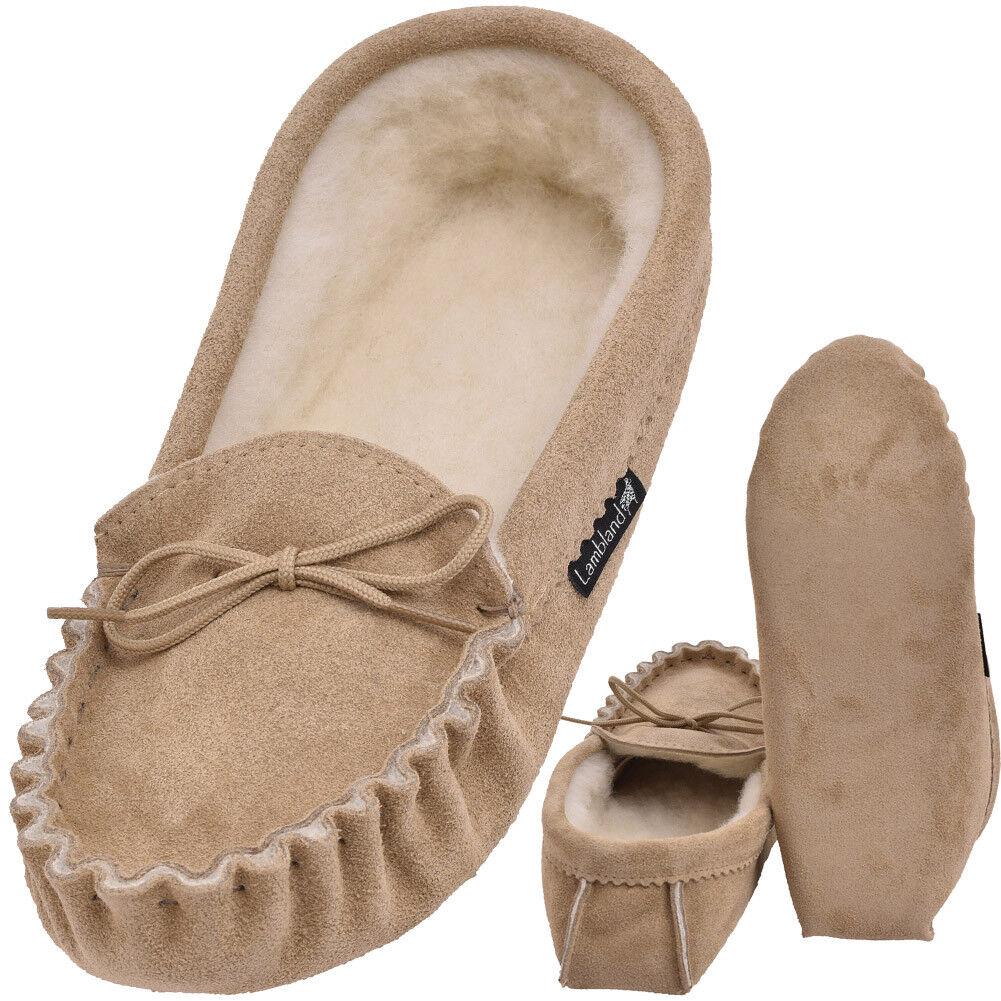 Mens - Ladies British Made Genuine Sheepskin Suede Moccasins Slippers