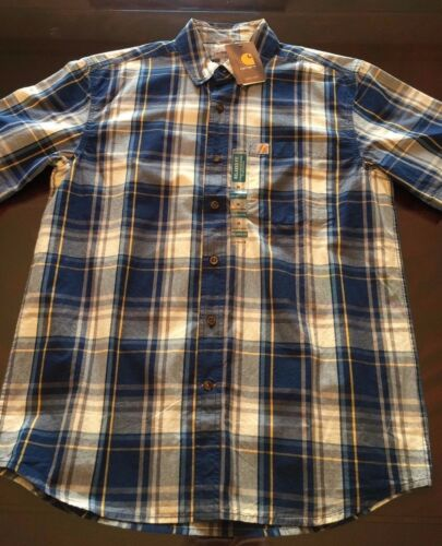 NWT Men Carhartt Short Sleeve S//S Button Front 102536 Plaid Check Shirt Relaxed