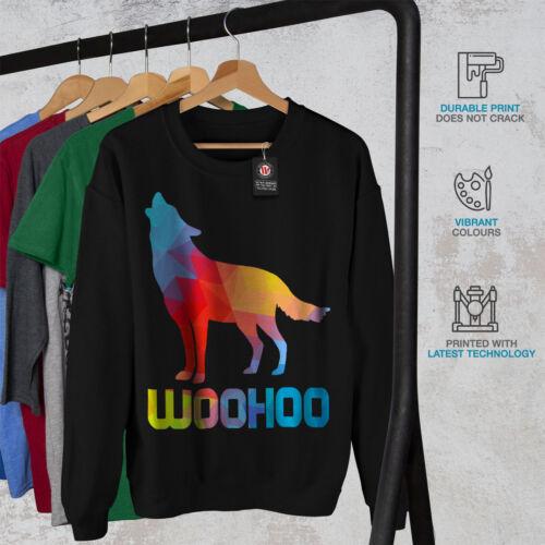 Casual Pullover Jumper Wellcoda Colorful Wolf Howl Art Mens Sweatshirt