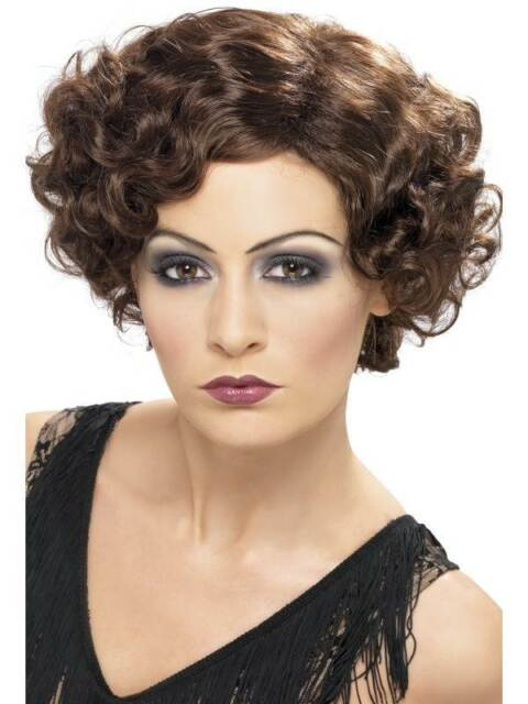 Short Brown Curly Wig, 1920s Flapper Wig, Charleston