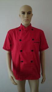 Short Sleeve Kitchen Cooker Working Uniform Chef Waiter Waitress Coat Jacket red