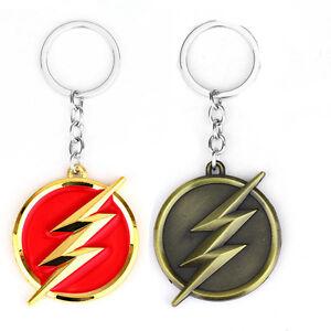 The-Flash-Lightning-Keychain-Red-Gold-Logo-Key-Ring-Key-Holder-Fashion-Jewelry