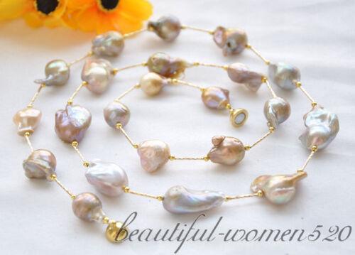 "z5032 32/"" 28mm baroque lavender keshi reborn pearl necklace"