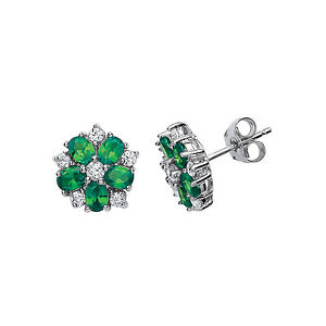 Image Is Loading Emerald Earrings Silver Stud Sterling Platinum Plated