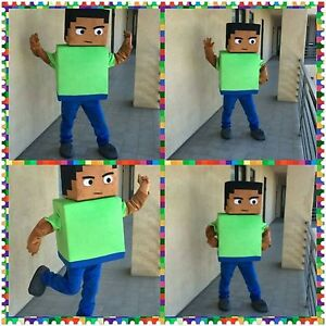 Image is loading Steve-Minecraft-video-game-character-Cartoon-Mascot-Costume - & Steve Minecraft video game character Cartoon Mascot Costume Adult ...