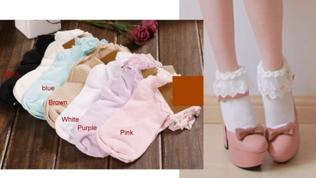 lolita japan vivi Fujii LENA fairy Kei ballerina lace trim ankle socks 6 Colors