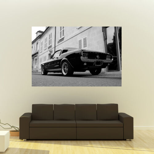 Poster of Ford Mustang Fastback Giant B/&W Muscle Car Huge Print 54x36 Inches