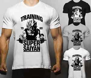 Training to go super saiyan t shirt gym goku