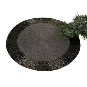 Placemat-Placemat-Saucer-Beads-Beads-Black-Silver-D-35cm-round-Formano