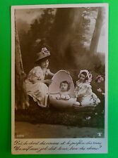 Mom-Baby n Egg-Girl-Hand Tint-Antique Vintage French Easter Real Photo Postcard