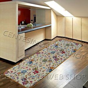 Tappeto 7 misure passatoia cucina antiscivolo beige gufi 140 190 240 290 100 ebay - Passatoia cucina antiscivolo ...
