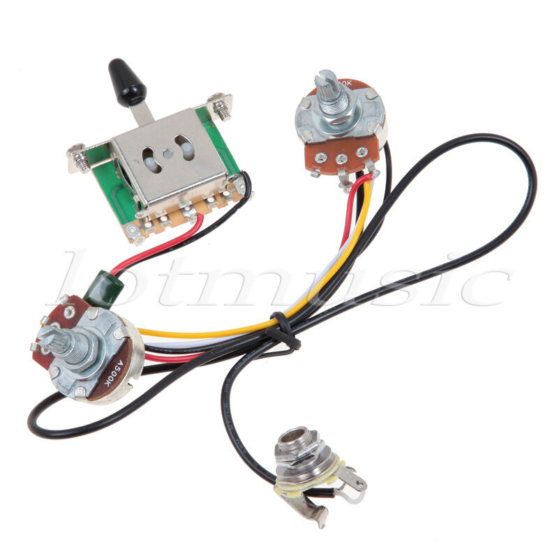 Guitar Wiring Harness 3 Way Two Pickup Blade Switch 500K Great w