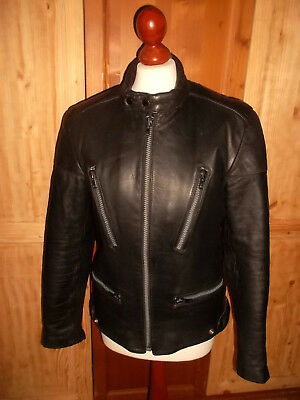 Vintage Germot Moto Giacca Pelle Jacket Leather Motorcycle Oldschool 48 M-mostra Il Titolo Originale