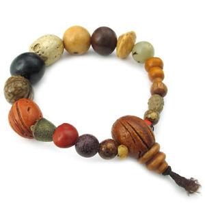 Herren-Damen-Armband-Tibetisch-Buddhistischen-Perlen-Gebet-Mala-Holz-T5Y4-VG