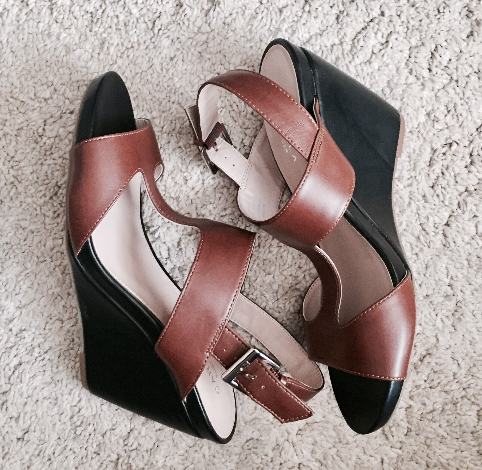 Carvela Brown & Black Platform Wedges Heels Sandals     Size 6 39 992f4f
