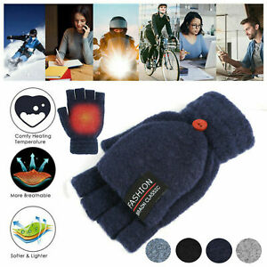 Winter-Electric-Heated-Gloves-Warmer-USB-Rechargeable-Full-amp-Half-Finger-Mitten