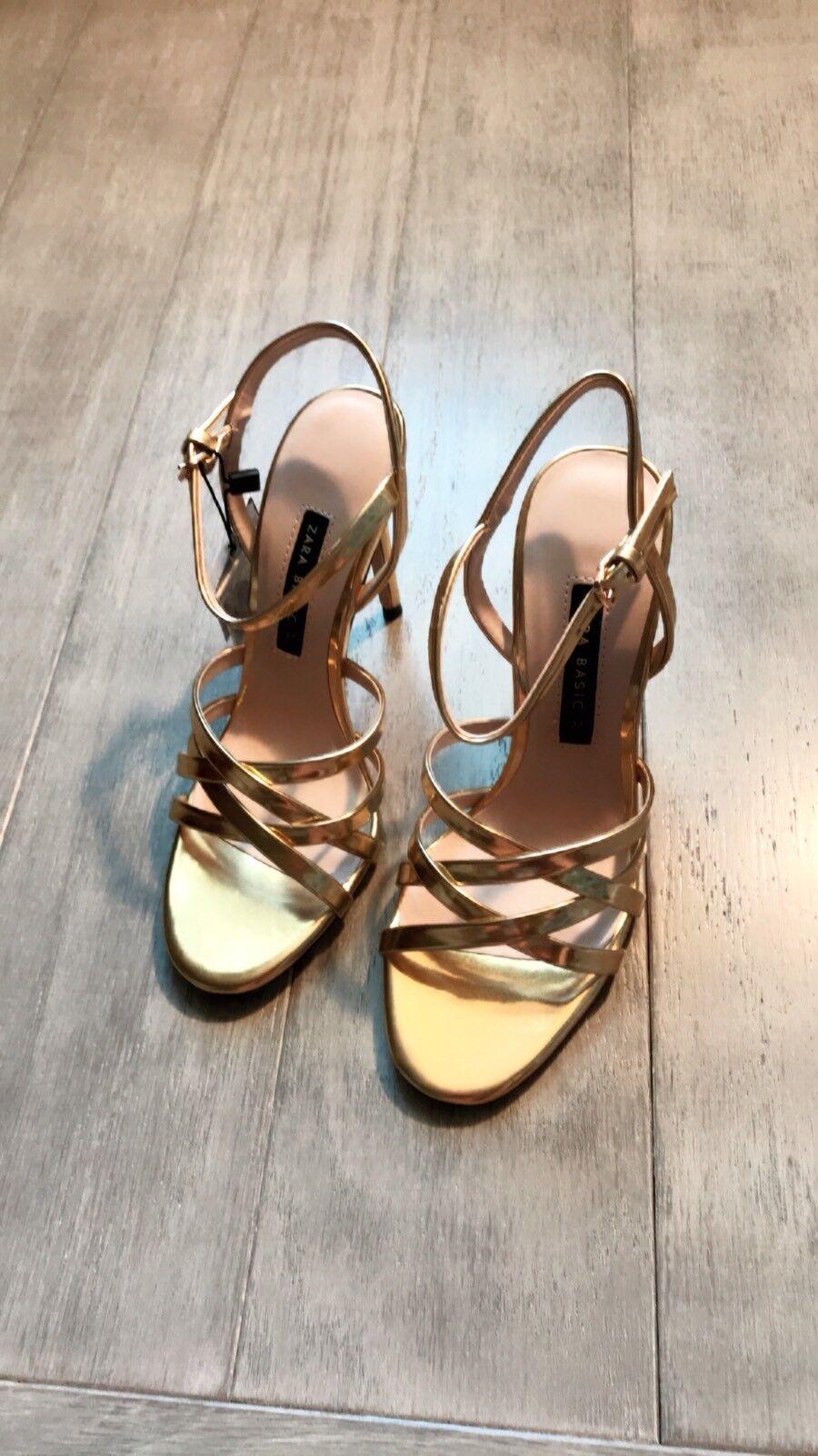 ZARA Women's Laminated Strappy Sandals(gold, US 6.5, 7.5 )