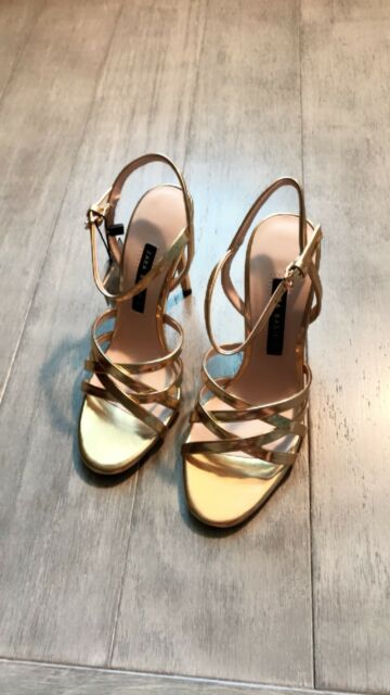 ed3b0b1b7577 ZARA Women s Laminated Strappy Sandals(Gold