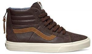 7fa08ecd23 Vans Unisex Sk8-Hi Zip CA Leather Nubuck Coffee Bean Brown Men SIZE ...