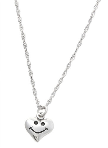STERLING SILVER ONE SIDED SMILEY HEART CHARM WITH THIN SINGAPORE NECKLACE