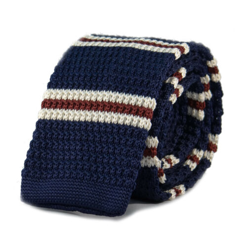 New Luxury Mens Blue White and Burgundy Striped Woven Tie Necktie Knitted Skinny