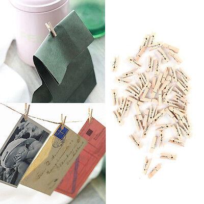 "100pcs 1"" Mini Wooden Clothe Photo Peg Clothespin Craft Clips 25mm Home Decor"