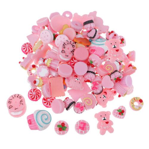 100 Stück Romantische Rosa Farben Mixed Food Harz Flatback Kawaii Cabochons