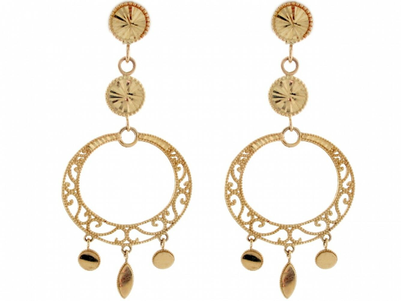 10k or 14k Yellow gold Round Filigree Beautiful Dangle Earrings