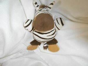 "plush zebra white brown lovey baby chew teether tan 8"" toy"