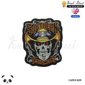 Southern-Discomfort-Biker-Embroidered-Iron-On-Sew-On-Patch-Badge