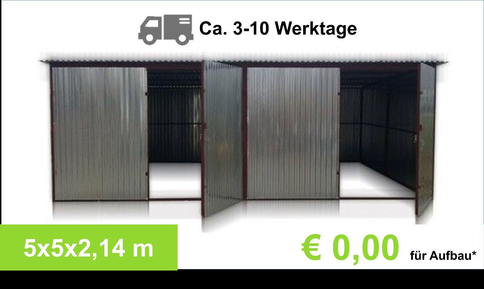Garage 5x5 m Metallgarage LAGERRAUM GERÄTESCHUPPEN Blechgarage Garagetor