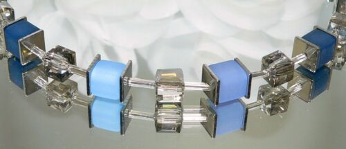 Collar cadena cadena de cubo perlas Polaris azul azul claro de vidrio bisutería 099c