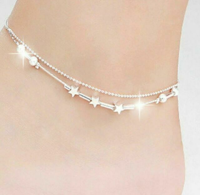 MUZHE Double Heart Bead Silver Anklet Star Round Tube Bead Anklet for Women Girls Beach Accessories