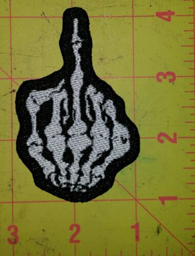 Middle finger motorcycle biker embroidered vest patch iron on
