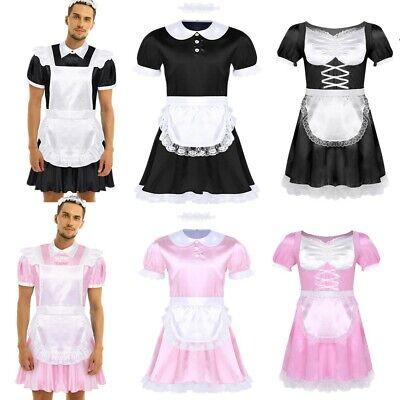 Men/'s Satin Lace French Maid Uniform Costume Crossdressing Dress Lingerie Set