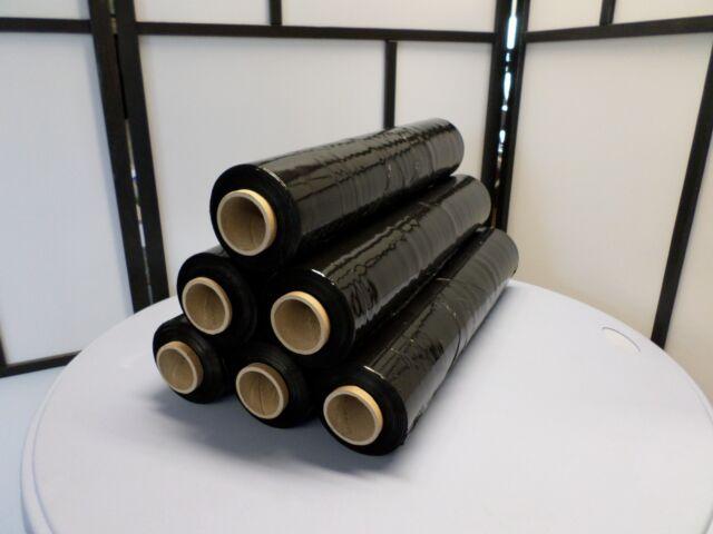 6 Stück Stretchfolie 500mm 300m 17my Schwarz Verpackungsfolie Strechfolie Black