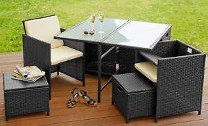 Detalles de Poli Ratán Conjunto Muebles de Jardín 4 Sillónes 4 Taburetes  Comedor Mesa Negro