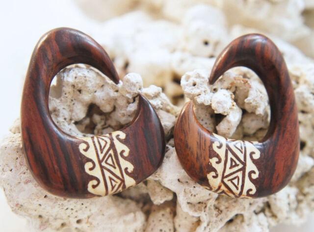 "Handcarved Sono Wood Hanger Tribal Crocodile Wood Inlay Ear Plug Gauge 2g - 5/8"""