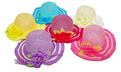 6 Mix Pack Cutie Collections Girls Tea Party Flower Costume Sun Hats Multi Color