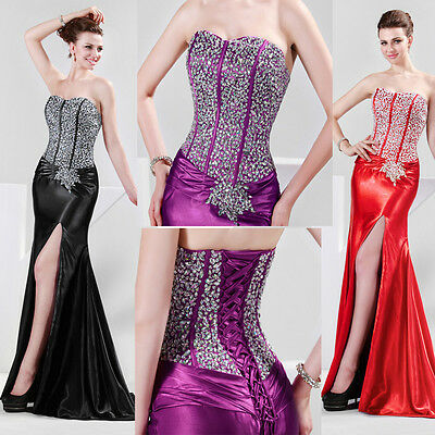 STOCK Long Sequins Mermaid Formal Evening Gown Dress Bridesmaid Pageant Dresses
