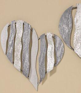 Wandobjekt herz wandh nger metall grau silber wanddeko wandschmuck h nger ebay - Wandschmuck silber ...