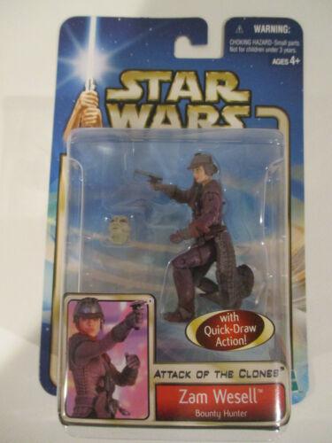 Hasbro Star Wars Saga bleu clair Zam Wesell Bounty Hunter 02-18 2001 Nouveau