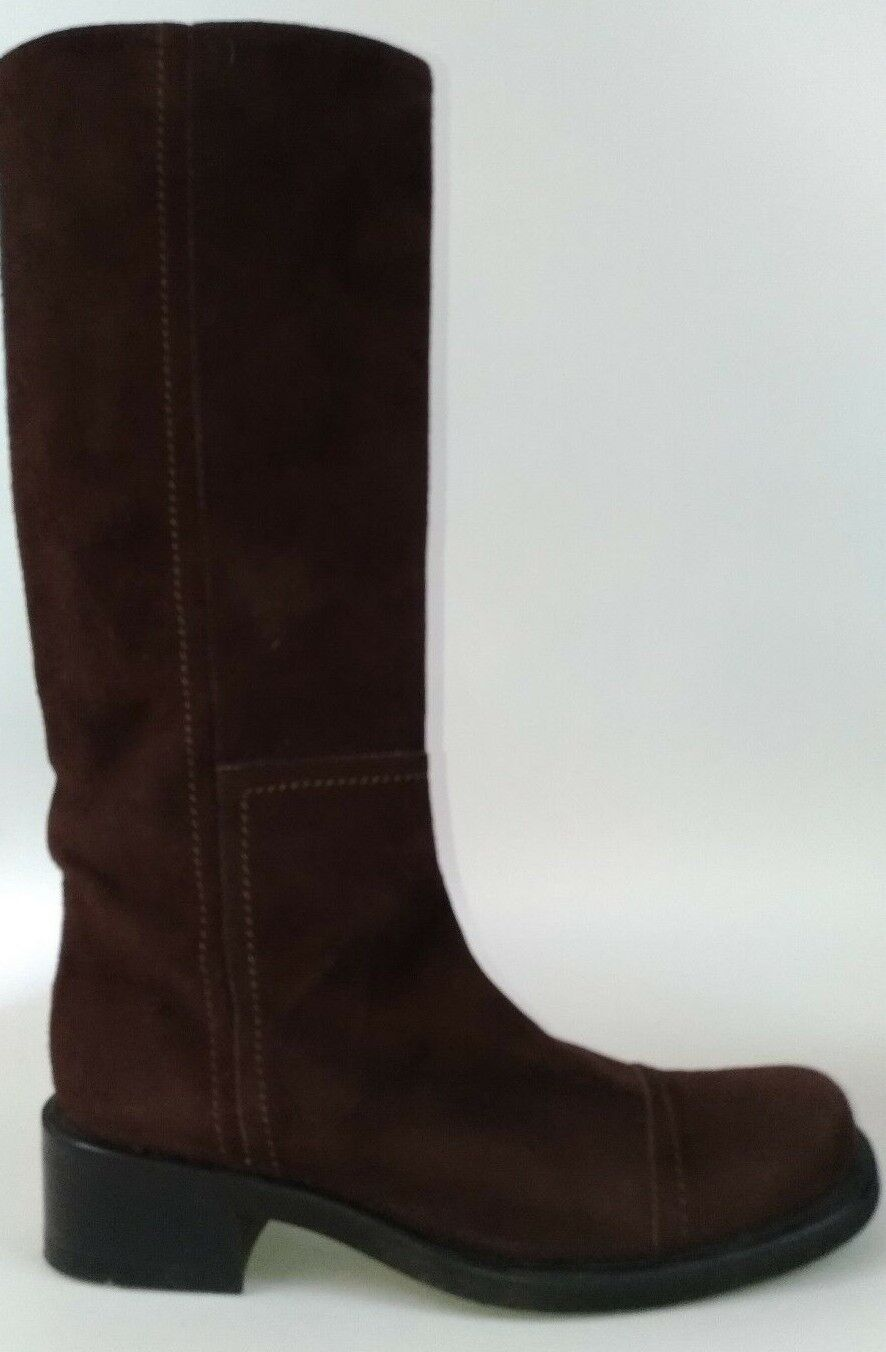 Steve Madden Italian Riding Boots Brown Suede Women's Size 9.5M Stack Block Heel