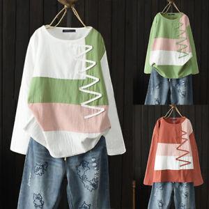 ZANZEA-Femme-Haut-Loisir-Ample-Coton-Couture-Manche-longue-Chemise-Shirt-Plus